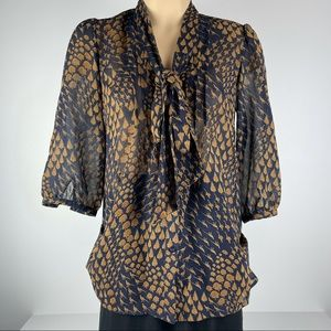 Gorgeous Navy & Brown Blouse with Tie Front - 8